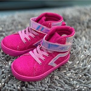 Toddler Girls Athletics Hitop Glitter Pink Shoe 7